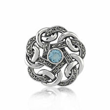 925 Silver Marcasite & Blue Topaz Celtic Style Brooch