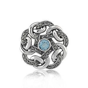 925 Silver Marcasite & Blue Topaz Celtic Style Brooch