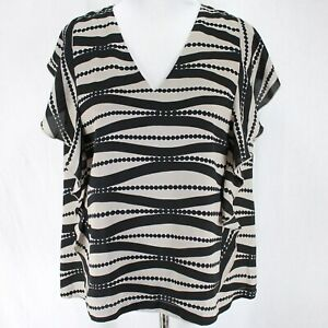 Ann Taylor Factory Blouse Womens Sz L Black Tan Sleeveless Ruffle V Neck Top