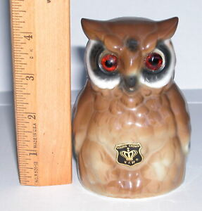 "Vintage porcelain bell BARN OWL - 4"" - Made in West Germany"