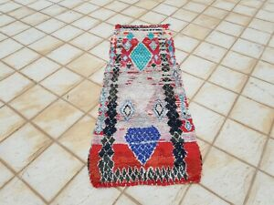 "Moroccan Vintage Boucherouite Rug 7'x2'7"" Ft HandMade Berber Carpet, Azilal rug"