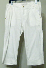 Baby Phat White Capri Pants Linen Cotton Size 3 Currant  Pockets Gold Button NWT