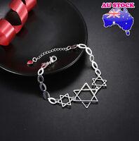 Wholesale Women's 925 Sterling Silver Filled Stars Pendant Charm Bracelet Chain