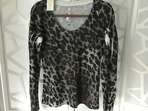 Cache Shades of Gray/Black Leopard Print Top Size M, Breast Cancer Awareness