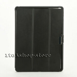 "For iPad Pro 12.9"" (1st Gen) Hybrid Folding Folio Snap Case Cover - Black Clear"