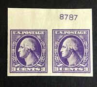 US Stamps, Scott #535 pair 1918 Type IV, large margins M/NH Superb, sharp color