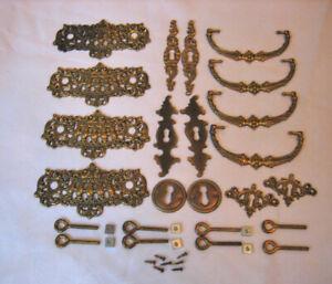 antique, vintage Brass Trim Key Hole Covers, Drawer Pulls, Escutcheons, Hardware