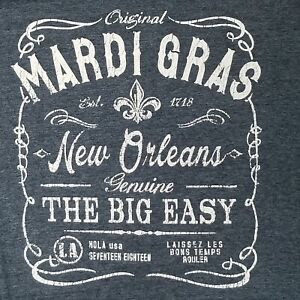 Charcoal Gray Ivory Mardi Gras New Orleans The Big Easy T-Shirt 2XL