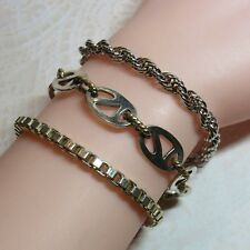 Clasp Rope Box Chain Bracelet 38.5 Grams Vtg 3 Piece Lot Sterling Silver Toggle