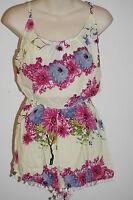 Playsuit Shorts Hippy boho Comfy size 10-12 Pom pom Hippie short rayon Jumpsuit