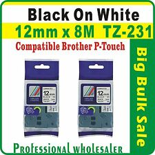 4 Pcs Value Pack Brother 12mm x 8m Black on White Compatible TZ-231 Label Tape