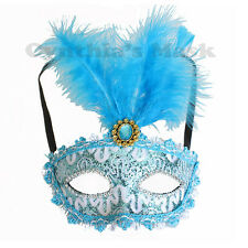 Turquoise Venetian Masquerade Mask w/ Feathers BZ632C for Party & Display
