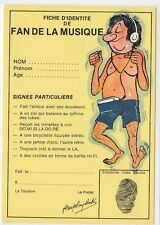 CP HUMOUR FICHE D'IDENTITE DE FAN DE MUSIQUE