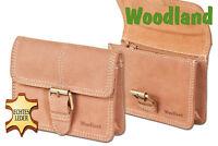 Woodland® Gürteltasche mit Schnalle aus naturbelassenem Büffelleder in Hellbraun