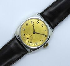 WWI Military Design Solid Silver Two Tone Trench Gents Watch  1910~20