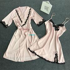 2pcs Womens Satin lace Nightie Gown Lingerie Sleepwear Pyjamas Set Robe + Dress