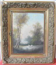 ecole Barbizon huile sur panneau bois 19eme cadre triptyque miroir