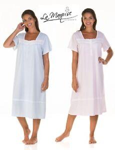 LADIES  SHORT SLEEVE JERSEY*STRIPE *COTTON MIX NIGHTDRESS SIZES* 10-24 *25376