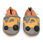 Dotty Fish Soft Leather Baby Boys Shoes - Yellow Digger - 0-6mths - 3-4yrs