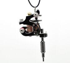 "1PC Gunmetal Mini Tattoo Machine Necklace 23"" W00112 New"