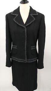 New Ann Taylor Size 10 2pc Skirt Suit Black Wool Blend