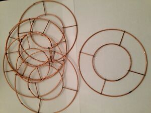 """Small 6"""" Wire Wreath Rings Flat Copper Table Candle Decoration Mini"""