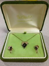 VINTAGE DE CURTIS 14K GOLD FILLED RED BERRY NECKLACE & EARRING SET IN BOX