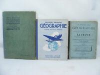 Lot de 3 livres anciens GEOGRAPHIE ATLAS 1883-1950 France Puissances Européennes