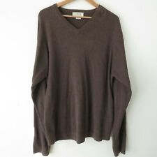 J.Crew Brown Ribbed Pullover V-Neck 100% Cotton Knit Sweater Men's Sz XL