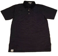 Peter Millar Golf Polo Shirt 100% Cotton Black With Purple Stripped Size M