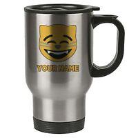 Personalised Face Emoji Silver Travel Mug - Cat - Happy - Add Your Name - Reusab