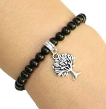 Round Crystal Tree of Life Charm Bracelet Black Beads with Elastic Cord
