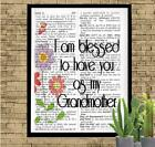 Blessed to Have You as my Grandmother Dictionary Art Print Unique Handmade Gift