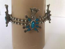 "Bracelet blue turquoise color stone silver tone small wrist child bracelet 6.5"""