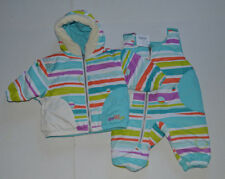NWT Infant Girls 0-6 Mo Obermeyer Blue Stripes Jacket/Coat & Snowpants $149