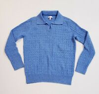 Kim Rogers Sweater Women's Blue Solid Cable Knit Collared 100% Cotton Size Large