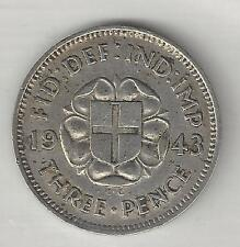GREAT BRITAIN,  1943,  3 PENCE,  SILVER,  KM#848,  EXTRA FINE