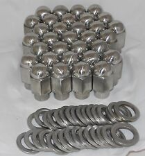 SET OF 32 STAINLESS STEEL EAGLE DUALLY WHEEL RIM LUG NUT & WASHER MAG SHANK 9/16