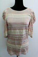 Deletta Women's Top 3/4 Sleeve Blouse Semi Sheer Striped Design size M medium