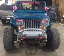 87-96 PINK & BLACK Jeep Wrangler YJ  Cherokee Angry Eyes Mad Headlight Decal
