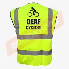 DEAF CYCLIST YELLOW HI VIZ VIS CYCLE WAISTCOAT VEST TABARD SAFETY