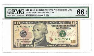 2013 $10 KANSAS CITY FRN, PMG GEM UNCIRCULATED 66 EPQ BANKNOTE, 1st of 3