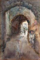 BOYS IN ALLEYWAY IMPRESSIONIST Watercolour Painting SIGNED 1905 DICKENSIAN