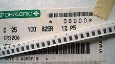 Carrete parcial Draloric 3500 un.+ D25 1206 825R 1% resistencias de película fijo 0.25W Chip