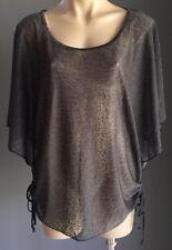 NWOT CAROLINE MORGAN Grey Burnout Fabric Kimono Blouse Size 14