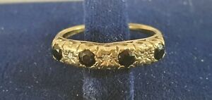 9ct Gold Sapphire And Diamonds Seven Stones Ring