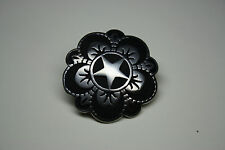 6 Jeremiah Watt Horse Shoe  Engraved Stainless Steel Floral Star Conchos 1-1/2