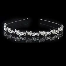 Crystal Flower Leaves Headband Hairband- Bride Bridesmaid Bridal Prom Tiara