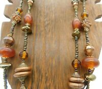 """Vintage Multi Strand Bronze Seed Bead Amber Tone Lucite Elongated 33"""" Necklace"""