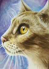ACEO Original Art Card Cat Great Eyes Realistic Watercolor Painting Free Ship